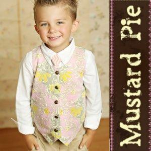 NWT Mustard Pie 'Baroque' Pink Boys Vest & Tie